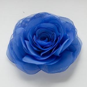 Kék stilizált  rózsa - kitűző/hajcsat (gemma) - Meska.hu