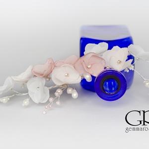 Gyöngyös és virágos  fejdísz - rózsaszín (gemma) - Meska.hu