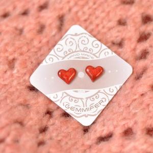 Piros szív kerámia pöttyfüli, Ékszer, Fülbevaló, Kerámia, Cuki kerámia beszúrós fülbevaló orvosi acél hátuljjal ellátva., Meska