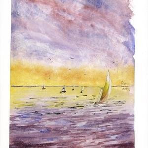 Alkonyi vitorlások, Művészet, Festmény, Akvarell, Festészet, A Balaton ihlette festmény 2019-ben készült. Személyes kedvenceim a vizes tájképek, a hajók, a víz f..., Meska