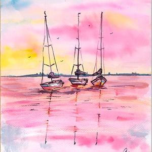Vitorlások, Művészet, Festmény, Akvarell, Festészet, Vizes témájú festményeim egy darabja. A vízen pihenő vitorlások nyugalmat sugároznak maguk köré és a..., Meska