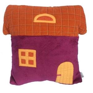 Gyerek párna (ovis párna) - Lányos színben (sötét pink, narancs), lapostetős, Gyerek & játék, Gyerekszoba, Falvédő, takaró, Lakberendezés, Otthon & lakás, Varrás, Puha, ölelni-való bébiplüss előlapú párna (párnahuzat és belső párna). A huzat levezető, mosható. Há..., Meska