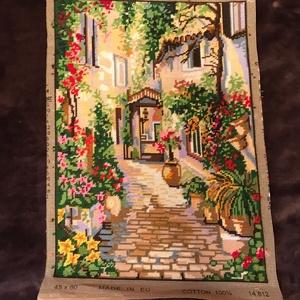 Gobelin - kész / mediterrán utca, Otthon & lakás, Dekoráció, Gobelin, Kép, Hímzés, Varrás, A gobelin hímzés nagymamám hobbija, amelyet legalább 50 éve űz. :D\nKár lenne ezeket a képeket csak k..., Meska