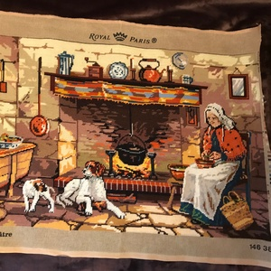 Gobelin - kész / konyha - tűzhely, Gobelin, Textil, Művészet, Hímzés, Varrás, Az ár tartalmazza a postaköltséget.\n\nA gobelin hímzés nagymamám hobbija, amelyet legalább 50 éve űz...., Meska