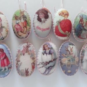 Vintage húsvéti filc függők, 10 db- os csomag, Dekoráció, Otthon & lakás, Húsvéti díszek, Ünnepi dekoráció, Varrás, Régi képeslapok hangulatát idéző, nem hivalkodó, romantikus vintage stílusú filc függők. Ovális alak..., Meska