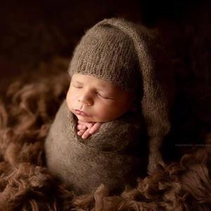 kötött wrap+manósapka, Egyéb, Kötés, Babafotózáshoz ideális kellék lehet az újszülött szett. Wrap mérete 120x30 cm\nRendelhető még ezen kí..., Meska