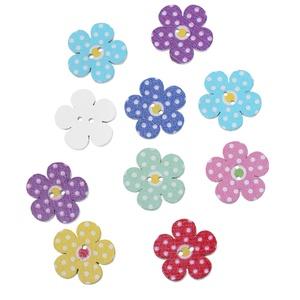 Pöttyös virág formájú fa gomb vegyes színekben, Gomb, Dekorációs kellékek, Varrás, Mindenmás, Gomb, Pöttyös virág formájú fa gomb vegyes színekben\nMérete: 20 mm x 20 mm\n15 db/csomag\nÁra: 390 Ft/csomag..., Meska