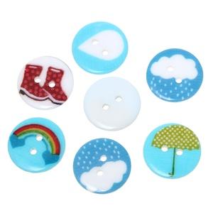 Időjárásos műanyag gomb 20 mm , Dekorációs kellékek, Gomb, Mindenmás, Varrás, Gomb, Időjárásos műanyag gomb 5 féle mintával: csizma, esernyő, esőcsepp, havazás, szivárvány.\nMérete: 20 ..., Meska