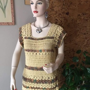 Meleg Kávé, Ruha & Divat, Női ruha, Pulóver & Kardigán, Horgolás, A Meleg Kávé nevezetű pulóvert 80% akril és 20% gyapjú tartalmú török fonalból készítettem. A  nevét..., Meska