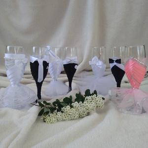 Esküvői pohár szett, csipkés (gervera) - Meska.hu