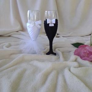 Pezsgős pohár esküvőre, masnis (gervera) - Meska.hu
