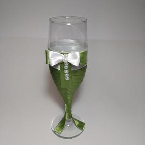 Pezsgőspoharak, almazöld (gervera) - Meska.hu