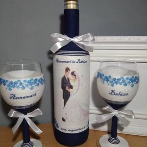 Zsinóros boros szett esküvőre, Esküvő, Emlék & Ajándék, Köszönőajándék, Decoupage, transzfer és szalvétatechnika, Boros üveget és boros poharakat kék és fehér zsinórral tekertem, dekupázs technikával díszítettem.\nM..., Meska