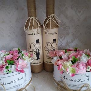 Köszönő ajándék esküvőre, vintage, Szülőköszöntő ajándék, Emlék & Ajándék, Esküvő, Decoupage, transzfer és szalvétatechnika, Virágkötés, A garnitúrát a Te egyedi kívánságod szerint készítem el. \nA csomag 2db zsinórozott pálinkás üveget (..., Meska