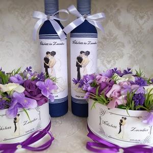 Köszönő ajándék esküvőre, a Te elképzelésed szerint, Esküvő, Meghívó, ültetőkártya, köszönőajándék, Decoupage, transzfer és szalvétatechnika, Virágkötés, A garnitúrát a Te egyedi kívánságod szerint készítem el. \nA csomag 2db zsinórozott pálinkás üveget (..., Meska