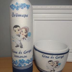 Zsinórozott köszönet ajándék kaspó+pálinkás üveg   (gervera) - Meska.hu