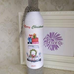 Ezüst zsinóros pálinkás üveg, merry christmas  (gervera) - Meska.hu