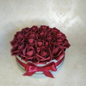 Bordó rózsa virágbox  (gervera) - Meska.hu