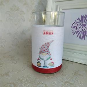 Karácsonyi váza, manóval  (gervera) - Meska.hu