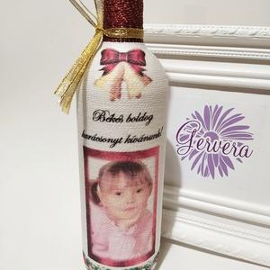 Zsinórozott boros üveg, fotóval, karácsonyra (gervera) - Meska.hu