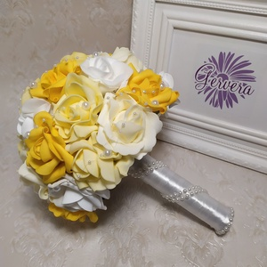 Sárga rózsa menyasszonyi csokor (gervera) - Meska.hu