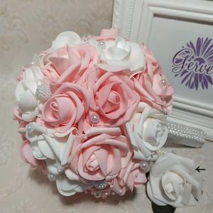 Fehér, rózsaszin menyasszonyi csokor  (gervera) - Meska.hu