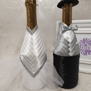 Menyasszony-vőlegény ruha pezsgőre, világos szürke, Esküvő, Nászajándék, Esküvői dekoráció, Varrás, Esküvőre,házassági évfordulóra egyedi ajándékot szeretnél?Öltöztesd jelmezbe a pezsgőt!\nFehér  menya..., Meska