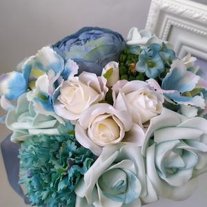 Virágbox, tölcsér, kék (gervera) - Meska.hu