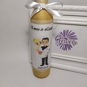 Arany szülőköszöntő pálinkás üveg édesapáknak, Szülőköszöntő ajándék, Emlék & Ajándék, Esküvő, Virágkötés, Egyedi zsinórozott pálinkás üveg. Esküvőre édesapáknak. A szöveget és mintát dekupázs technikával ra..., Meska