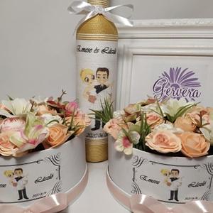 Arany szülőköszöntő szett, Szülőköszöntő ajándék, Emlék & Ajándék, Esküvő, Virágkötés, \nA csomag 1db zsinórozott pálinkás üveget (500ml)tartalmaz, egyedi díszítéssel az elején és a hátold..., Meska