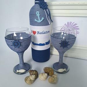 I love Balaton borosüveg+pohár, Otthon & lakás, Dekoráció, Virágkötés, Újra itt a nyár! Szerezz örömet szeretteidnek, ismerőseidnek, vagy akár magadnak ezzel az egyedi nyá..., Meska