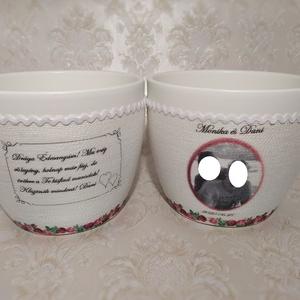 Köszönő ajándék, kaspó, Esküvő, Esküvői dekoráció, Otthon & lakás, Dekoráció, Ünnepi dekoráció, Anyák napja, Ballagás, Decoupage, transzfer és szalvétatechnika, Zsinórozott kaspó megrendelésre, saját fotóval.\nAjánlom esküvőre köszönő ajándéknak édesanyáknak, na..., Meska