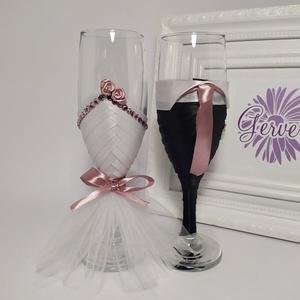 Mályva esküvői pezsgős pohár (gervera) - Meska.hu
