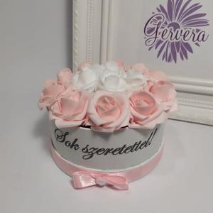 Feliratos mini box rózsaszín-fehér (gervera) - Meska.hu