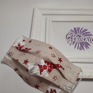 Textil maszk, kétrétegű, karácsonyi manó, Ruha & Divat, Maszk, Arcmaszk, Többször használatos mosható két rétegű, orr résznél drót merevítős pamutvászon szájmaszk.  Rendelés..., Meska
