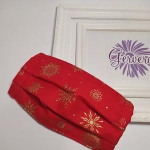 Textil maszk,kétrétegű, piros-hópehely (gervera) - Meska.hu