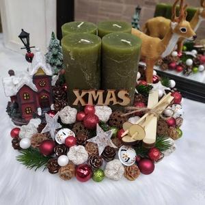 Karácsonyi táj, adventi koszorú  (gervera) - Meska.hu