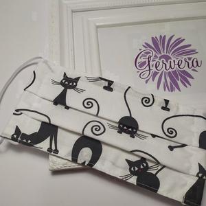 Textil maszk, kétrétegű nyújtózkodó cica (gervera) - Meska.hu