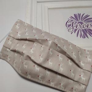 Textil maszk,kétrétegű vörös orrú rénszarvas (gervera) - Meska.hu