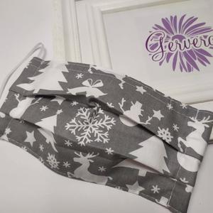 Textil maszk,kétrétegű, szürke karácsonyi (gervera) - Meska.hu