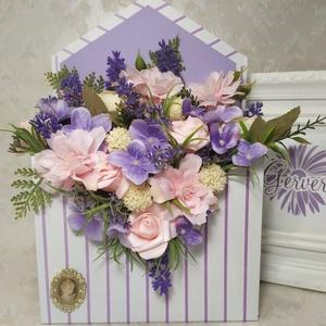 Boríték alakú virágbox, lila, rózsaszín, Esküvő, Emlék & Ajándék, Köszönőajándék, Virágkötés, Boríték alakú virág doboz selyemvirágokkal, habrózsával.\nAnyák apjára, születésnapra, névnapra, ball..., Meska