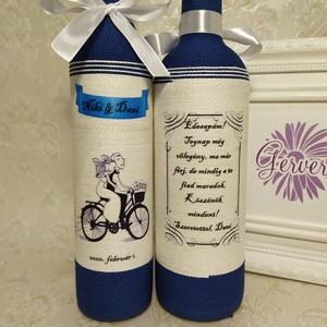 Szülőköszöntő ajándék, biciklizős pár, Esküvő, Emlék & Ajándék, Köszönőajándék, Decoupage, transzfer és szalvétatechnika, Kérhető pálinkás és boros üvegre is.\nEgyedi zsinórozott üveg. Esküvőre édesapáknak. A szöveget és mi..., Meska