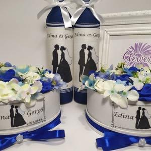 Kék esküvői szett, köszönő ajándék, édesanyának, édesapának, Esküvő, Emlék & Ajándék, Köszönőajándék, Virágkötés, Esküvői köszönő ajándék.Édesapáknak zsinórozott pálinkás üveg.Édesanyáknak virágbox.Mindkettő díszít..., Meska