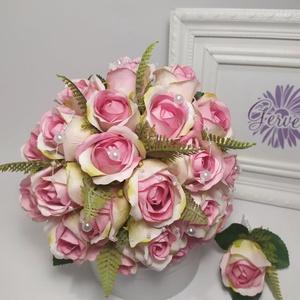Rózsaszín rózsa menyasszonyi csokor, Menyasszonyi- és dobócsokor, Esküvő, Virágkötés, Prémium minőségű, élethű rózsából kötöttem. Fogó részét selyemszalaggal kötöttem át, gyöngyökkel dís..., Meska