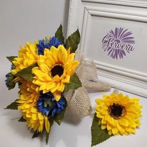 Napraforgó búzavirággal, menyasszonyi csokor, Esküvő, Menyasszonyi- és dobócsokor, Virágkötés, Gyönyörű sárga napraforgó és szép kék búzavirág csokorba kötve. Élethű selyemvirágokból készítettem,..., Meska