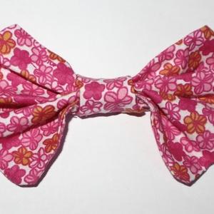 Pinkie Pawsie bow, Egyéb, Varrás, Vidám de visszafogott, virágmintás, rózsaszín összhatású csokornyakkendő kutyák és macskák részére...., Meska