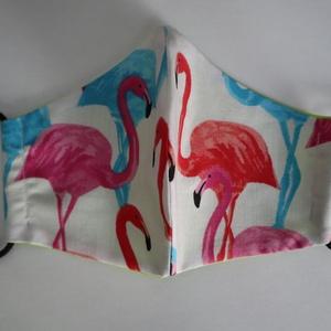 Flamingó Maszk, Egyéb, Varrás, Színes flamingó mintás maszk. Kétrétegű. Mosható, vasalható, újra felhasználható. Több méretben...., Meska