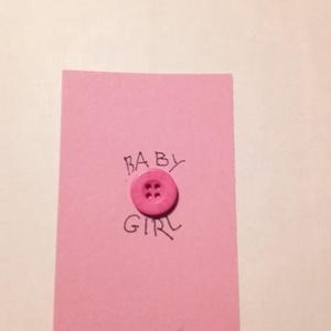 """gombos kártya_8, Otthon & lakás, Naptár, képeslap, album, Ajándékkísérő, Papírművészet, 70x105 mm-es kartonpapír kártya \""""Baby Girl\"""" felirattal. Ajándék kísérőnek lány baba születésére. Hoz..., Meska"""