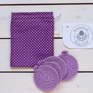 Horgolt arctisztító korongok lila, tartó zsákkal, Szépségápolás, Arcápolás, Arctisztító korong, Horgolás, Varrás, A csomag 4 db lila horgolt arctisztító korongot, és egy lila pöttyös zsákot tartalmaz a Nowaste jegy..., Meska