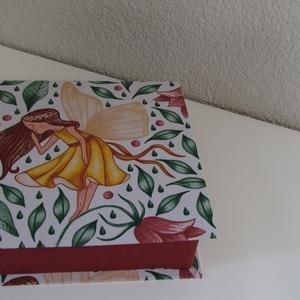 Tündéres doboz, Ékszer, Ékszertartó, Ékszerdoboz, Mindenmás, Merev alapra, textil bevonattal készült doboz. Alkalmas zsebkendő, ékszerek, valamint apró tárgyak t..., Meska